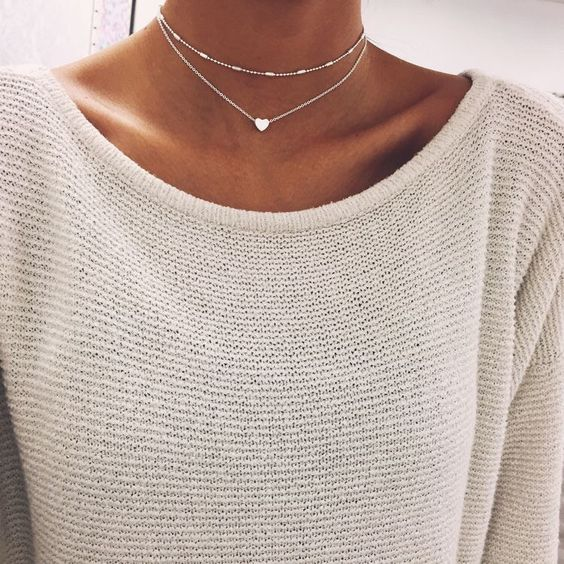 Delicate Heart Layered Choker Necklace