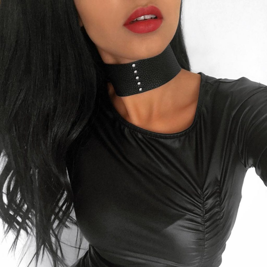 Studded Black Leather Choker by MPourCollection