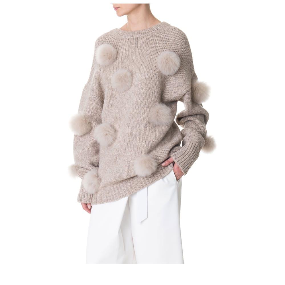 Tibi Alpaca Pompom Decollete Sweater