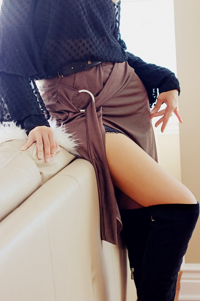 Missguided brown skirt and black over the knee boots