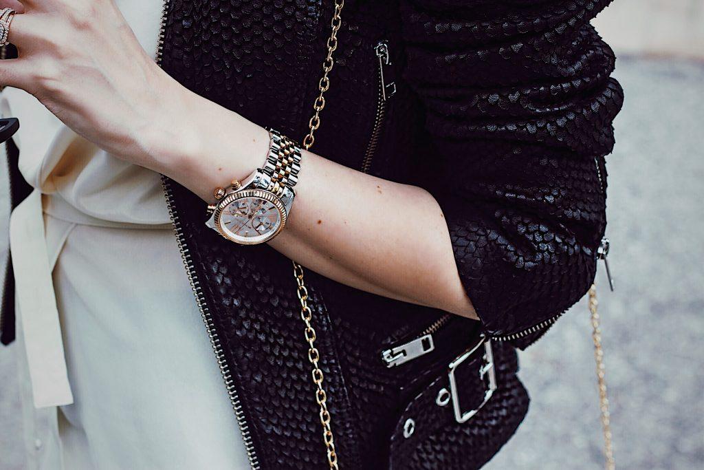 Details: Black leather jacket from Diesel, Michael Kors watch