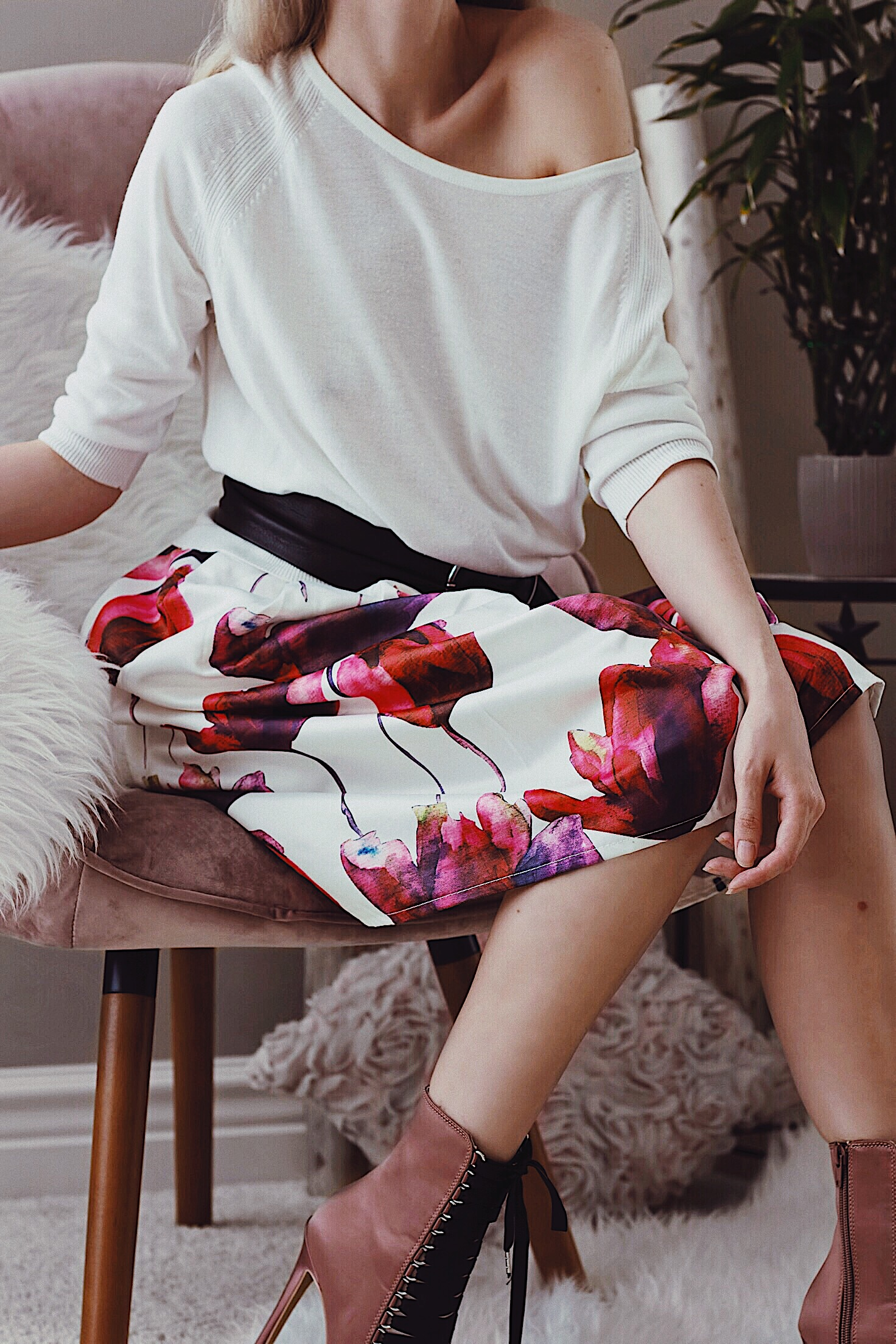 Watercolor Flower Print Skirt and Off the Shoulder White Sweater Fashion