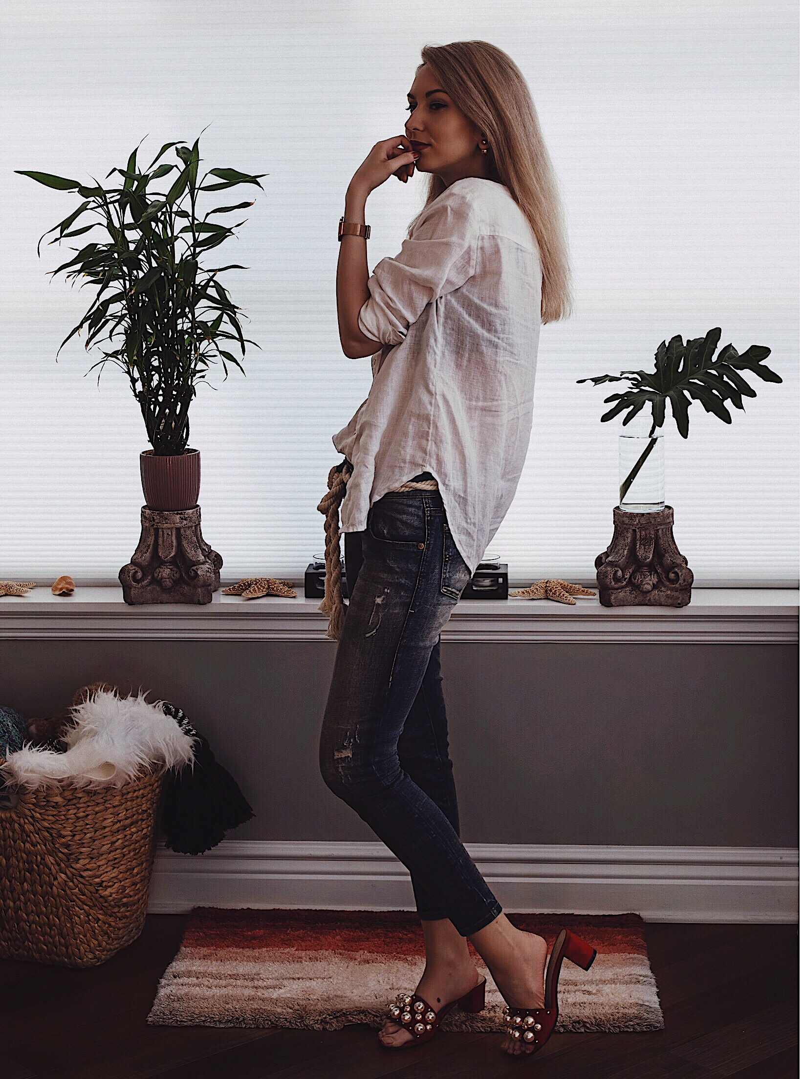 Crisp white linen shirt cropped jeans and pearl embellished shoes