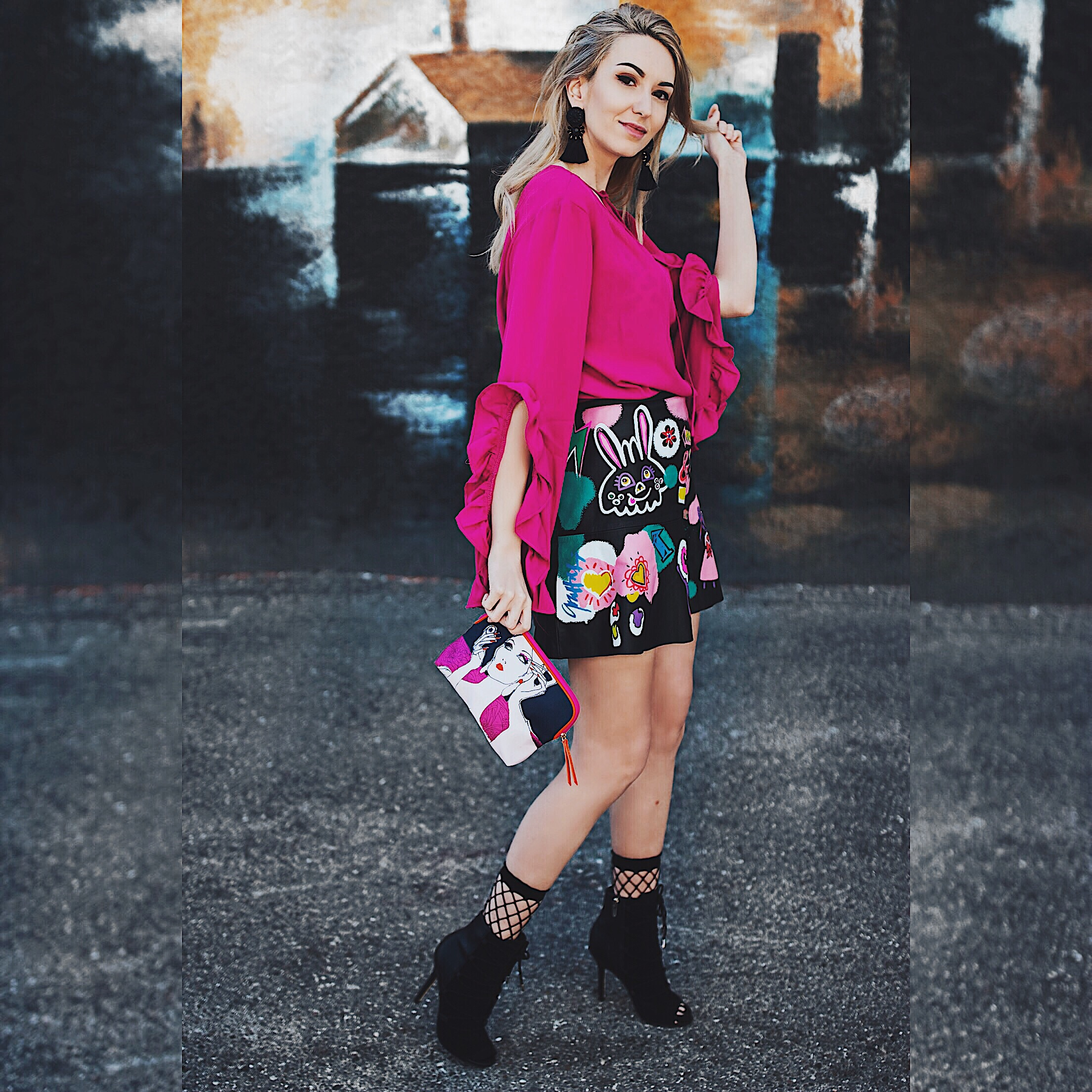 Magenta Frilly Top Graffiti Leather Skirt and Fishnet Socks