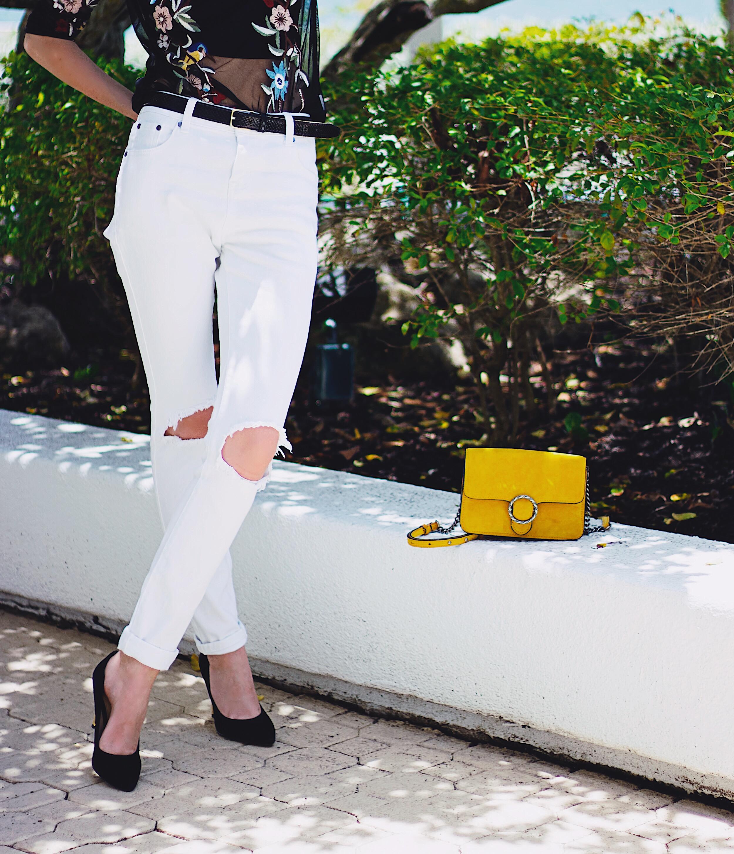 White TOBI Distressed Jeans Mango Mustard Suede Bag