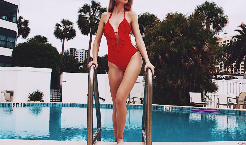 Summer is a State of Mind: Red Ruffle Swimsuit