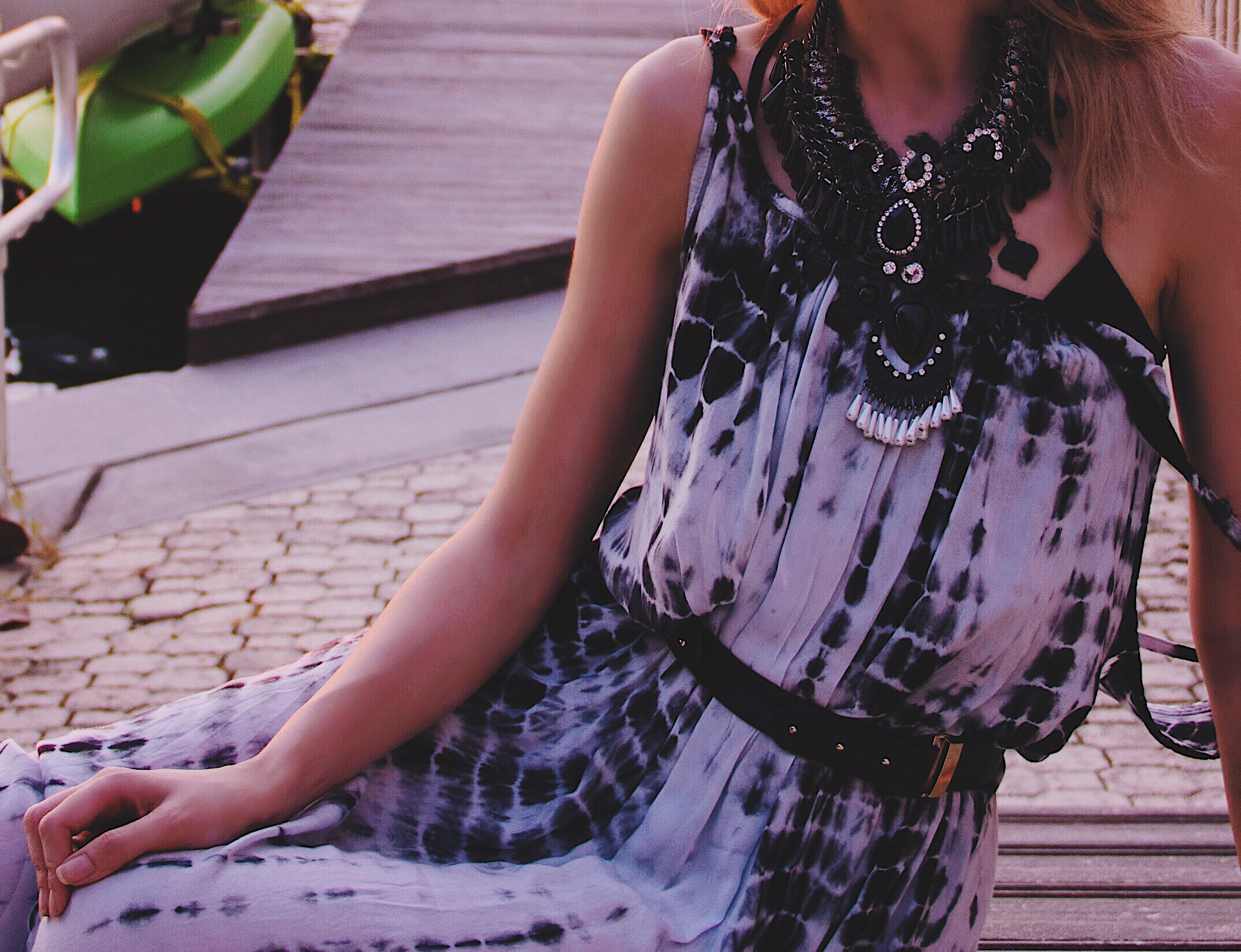 Tie Dye Festival Dress Statement Necklace Black Boots