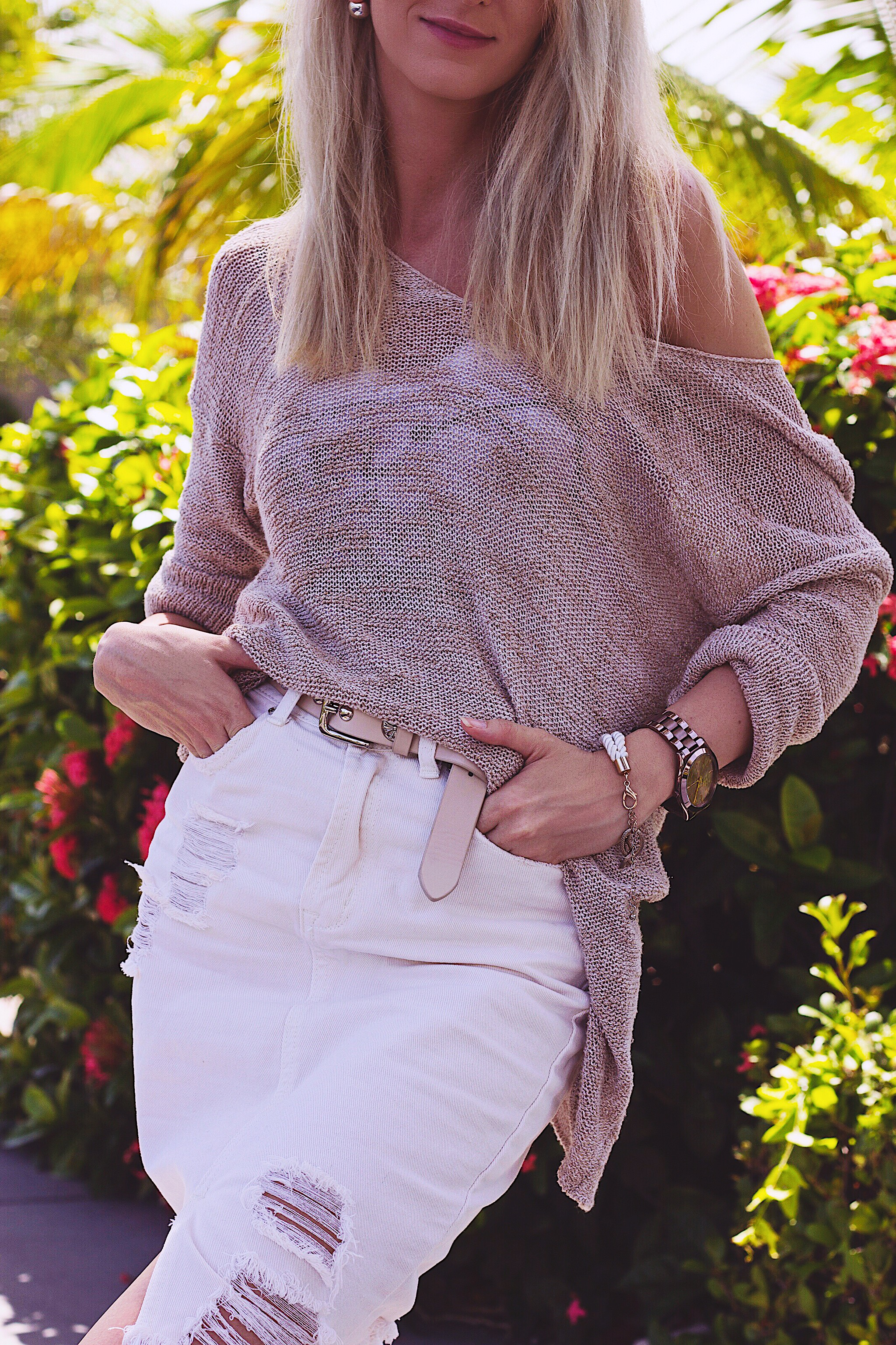 Cozy Knit Distressed Denim Skirt StyleUnsettled