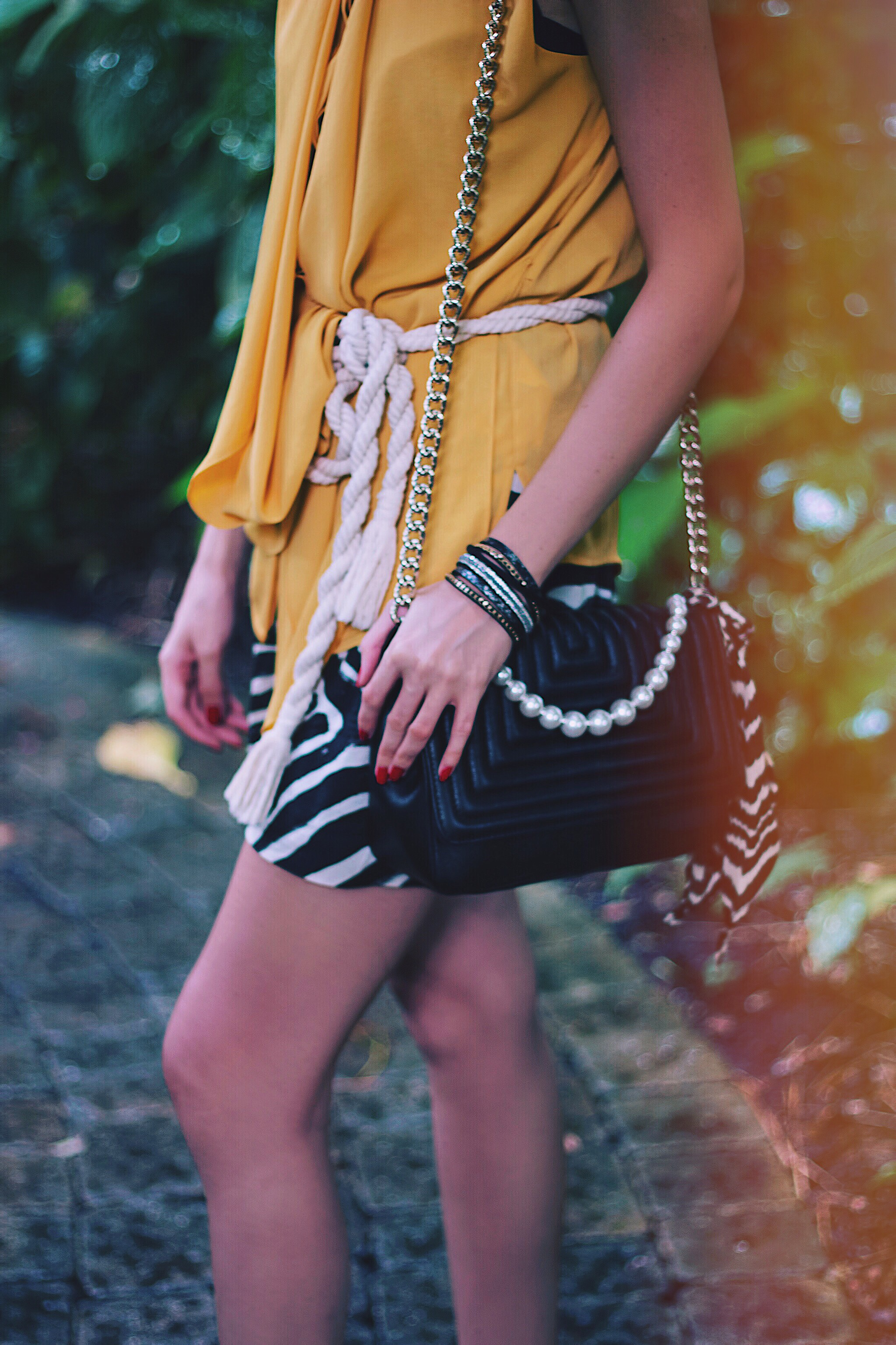 Yellow Top Rope Belt Zebra Shorts Suede Sandals