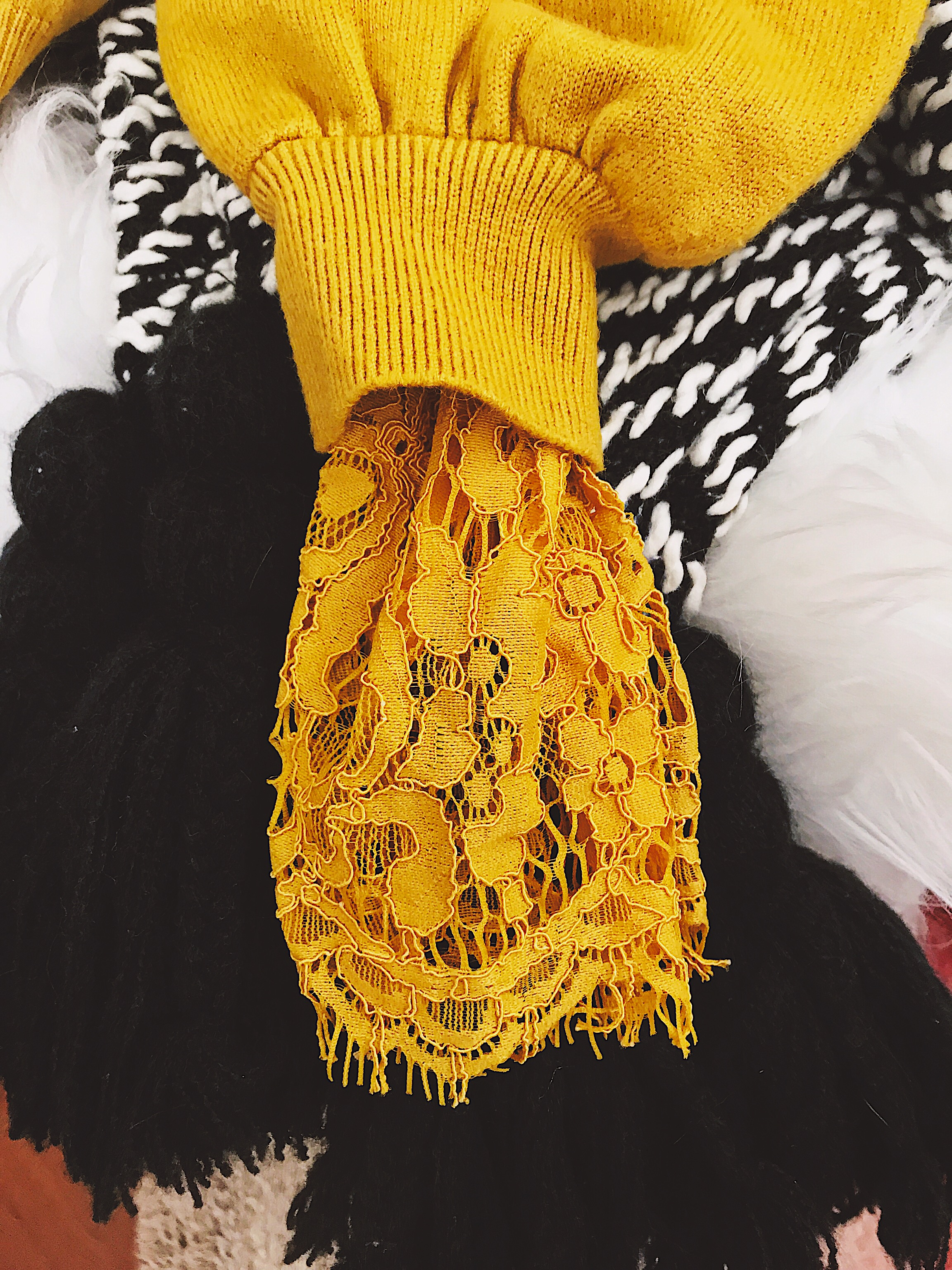 RoseGal Yellow Mustard Lace Sleeve Cardigan StyleUnsettled