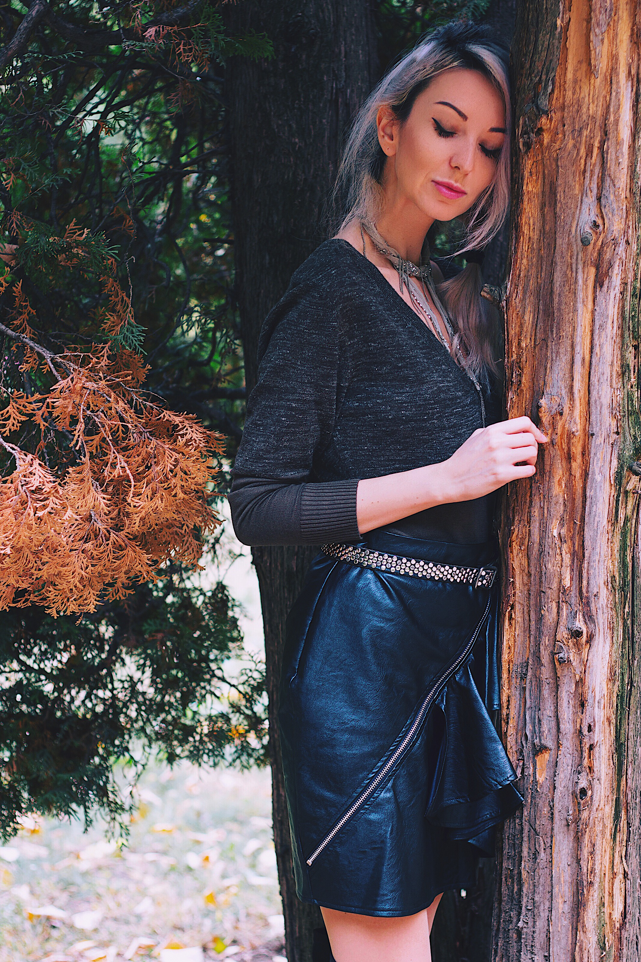 Style Unsettled Copou Park Iasi Leather Skirt Olive Sweater Zara Boots