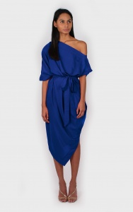 Silkfred AVA off the shoulder dress blue