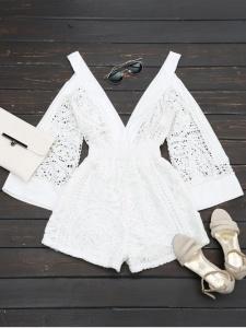Zaful crochet white romper