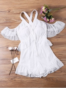 Zaful lace cold shoulder white romper