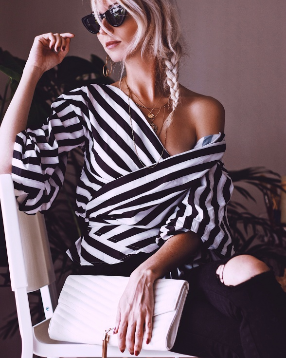 Zaful Stripped Wrap Blouse