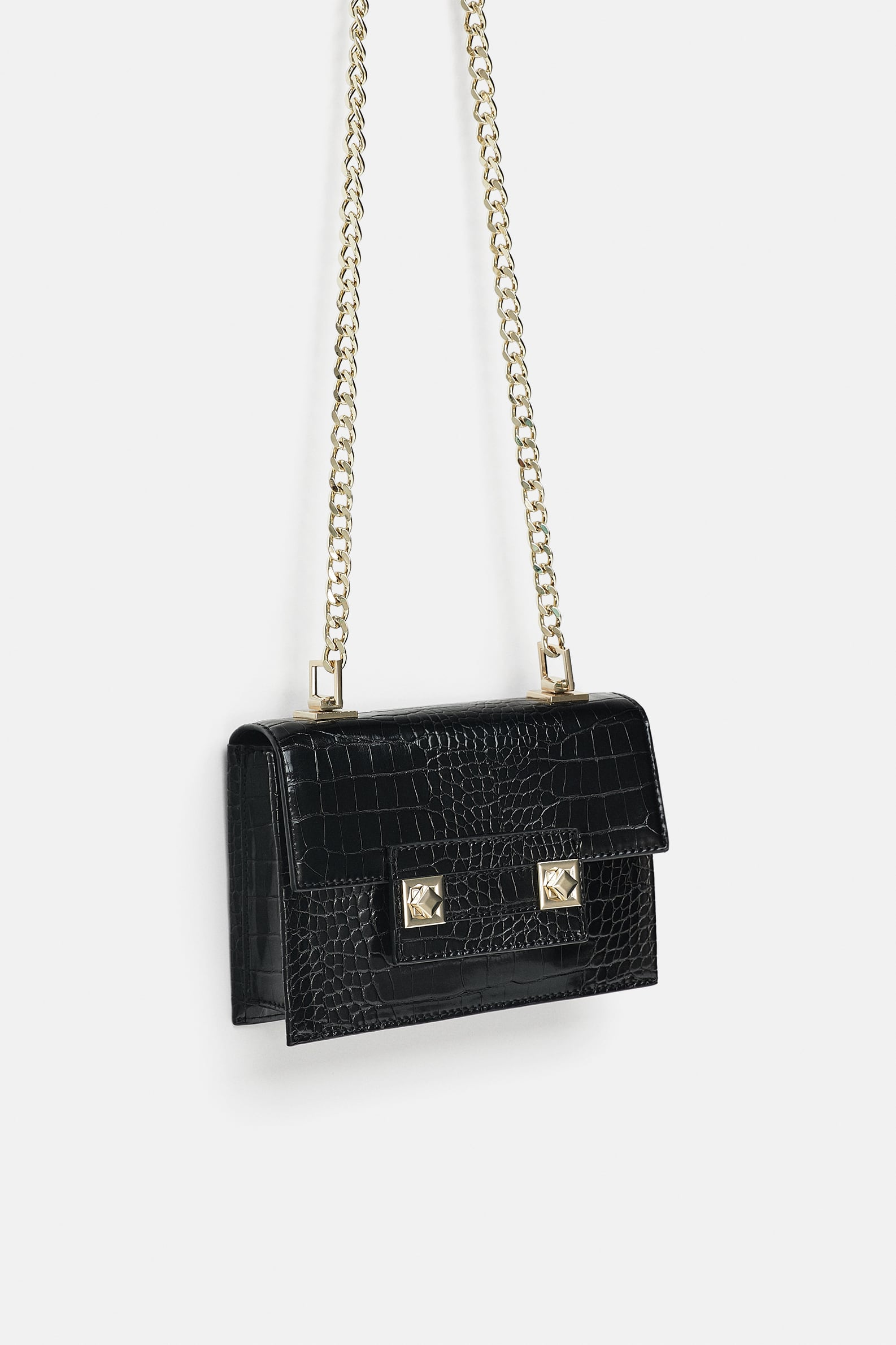 Zara MINI CROSSBODY BAG Black Croc
