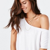 Urban outfitters Truly Madly Deeply Off-The-Shoulder White Tee