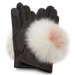 maison fabre black pom pom embellished leather gloves