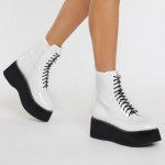 NAstyGal Platform Patent Lace Up Boot