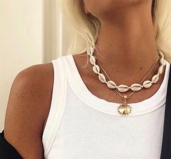 Cowrie seashell choker necklace
