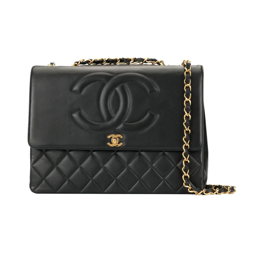 CHANEL VINTAGE Jumbo XL Double Chain shoulder bag