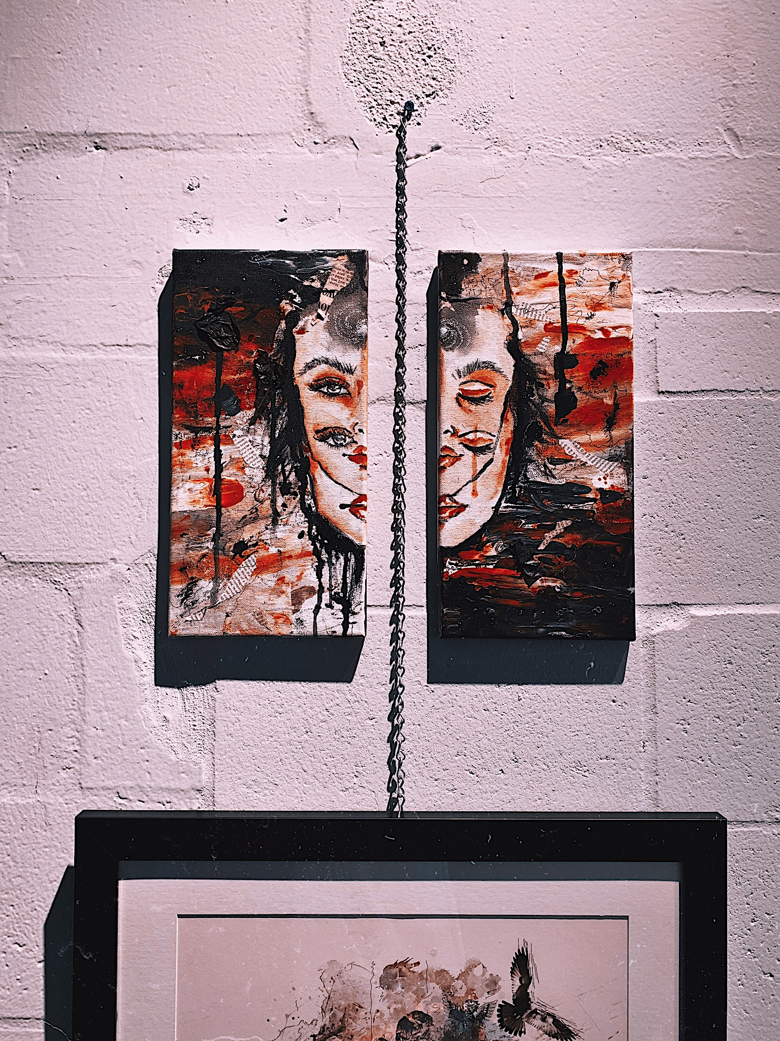 """Lonely"" diptych mixed media painting showcased at art gallery"